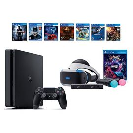 PlayStation VR Launch Bundle 8 Items:VR Launch Bundle,PlayStation 4 Slim- Uncharted 4,6 VR Game Disc Until Dawn:Rush of Blood, EVE:Valkyrie,Battlezone,Batman:Arkham VR, DriveClub,Battlezone