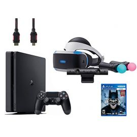 PlayStation VR Start Bundle 5 Items:VR Headset,Move Controller,PlayStation Camera Motion Sensor, Sony PS4 Slim 1TB Console - Jet Black and VR Game Disc Arkham VR
