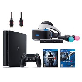 PlayStation VR Start Bundle 5 Items:VR Headset,Move Controller,PlayStation Camera Motion Sensor,PlayStation 4 Slim 500GB Console - U,VR Game Disc PSVR DriveClub ncharted 4
