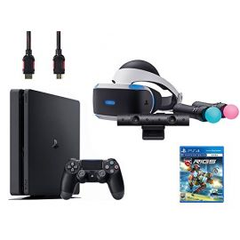PlayStation VR Start Bundle 5 Items:VR Headset,Move Controller,PlayStation Camera Motion Sensor,Sony PS4 Slim 1TB Console - Jet Black,VR Game Disc RIGS Mechanized Combat League