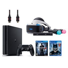 PlayStation VR Start Bundle Batman 5 Items:VR Headset,Move Controller,PlayStation Camera Motion Sensor,PlayStation 4 Slim 500GB Console - Uncharted 4,VR Game Disc Arkham VR