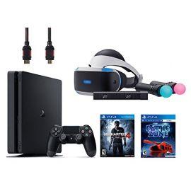 PlayStation VR Start Bundle Battlezone 5 Items:VR Headset,Move Controller,PlayStation Camera Motion Sensor,PlayStation 4 Slim 500GB Console - Uncharted 4,VR Game Disc PSVR Battlezone