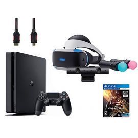 PlayStation VR Start Bundle EVE Valkyrie 5 Items:VR Headset,Move Controller,PlayStation Camera Motion Sensor, Sony PS4 Slim 1TB Console - Jet Black,VR Game Disc PSVR EVE Valkyrie