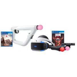 PS4 Shooter Bundle (5 Items): VR Headset, Farpoint Aim Controller Bundle, PSVR Doom Game, Playstation Camera, and 2 Move Motion Controllers
