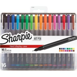 Sharpie Art Pens, Fine Point, Assorted Colors, Hard Case, 16 Count