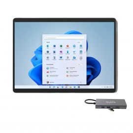 """Surface Pro 8 13"""" (2880x1920) Touchscreen Tablet Platinum, Intel Quad-Core i5-1135G7, 8GB RAM, 128GB SSD, USB-C 4.0, WiFi 6, Win 11 w/M-trix USB-C 11-in-1 Hub"""