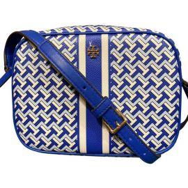 Tory Burch (64280) T Zag Leather Crossbody Hand Bag Purse JEWEL BLUE
