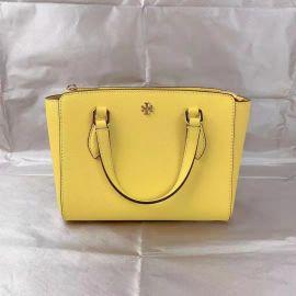 Tory Burch 64189 0221 Emerson Mini Top Zip Lemon Drop Saffiano Leather Tote Crossbody