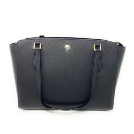 Tory Burch Emerson Small Top Zip Tote Crossbody Bag Leather In Black