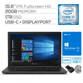"Toshiba Dynabook Tecra A50 Business Laptop, 15.6"" Full HD, Core i7-8565U 4-Core up to 4.60 GHz, 20GB RAM, 1TB SSD, USB-C/DP, DVD-RW, HDMI/VGA, RJ-45 Ethernet, Mytrix FP Reader, Win 10 Pro"