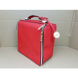 Travel Makeup Bag Large Cosmetic Bag Makeup Case Organizer for Women Red Leather