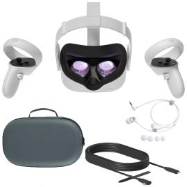Used Like New 2020 Oculus Quest 2 All-In-One PC VR Virtual Reality Headset 256GB Christmas Holiday Family Bundle, Mytrix Carrying Case for Portable Protection, 10FT Link Cable, Stereo Earphones Bundle