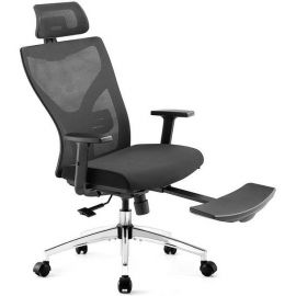 Used Like New Ergonomic Office Chair, High Back Desk Chair with Adjustable Lumbar Support & Thick Seat Cushion, 135°Reclining & Rocking Mesh Computer Chair with Footrest, Adjustable Headrest, Armrest (Black)