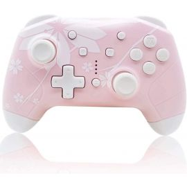 Used Like New Wireless Controller for Nintendo Switch/Lite, Mytrix Wireless Pro Controllers Gift with Auto-Fire Turbo, Motion Control, Three Levels Adjustable Vibration for Nintendo, Sakura Cherry Blossoms Pink