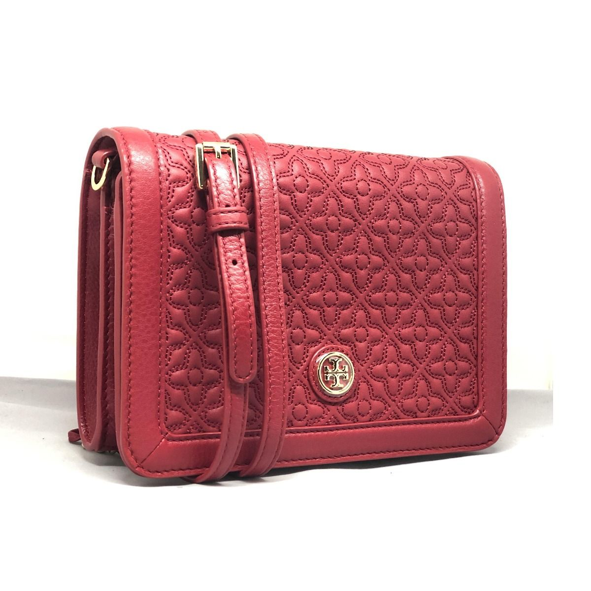 Tory Burch Bryant Quilted Combo Red Stone Cross Body Bag